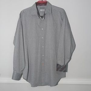 Thomas Dean men dress shirt grey/ black print